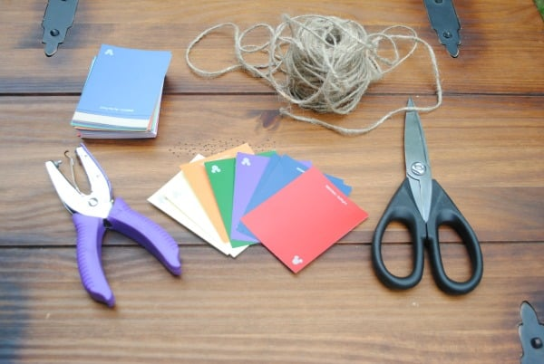 DIY Rainbow Paint Chip Banner materials to explain How to Make a Bunting