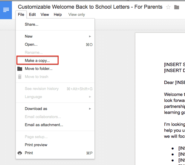 Step 2 - Welcome Back to School Letters - Make Copy