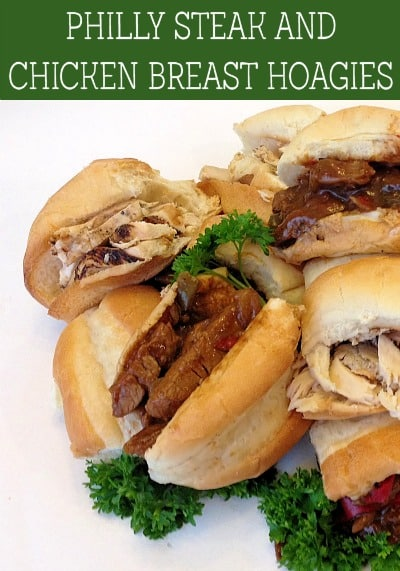 Philly Steak and Chicken Breast Hoagies - Enjoy straight from the grill flavor that's ready in minutes with these easy Philly steak and chicken breast hoagies made from new Hormel products.