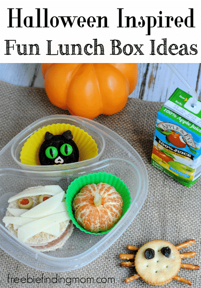 "Halloween Inspired Fun Lunch Box Ideas - Disguise your child's lunch as terrifying treats like a mummy sandwich, fruity ""pumpkin,"" black cat cookie, and a sweet and salty spider."