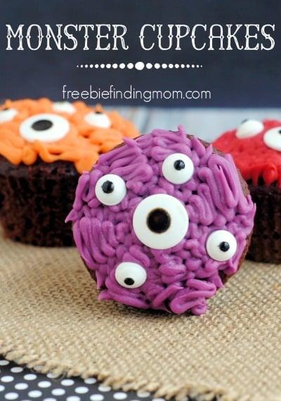 halloween inspired kids cupcake ideas  monster cupcakes