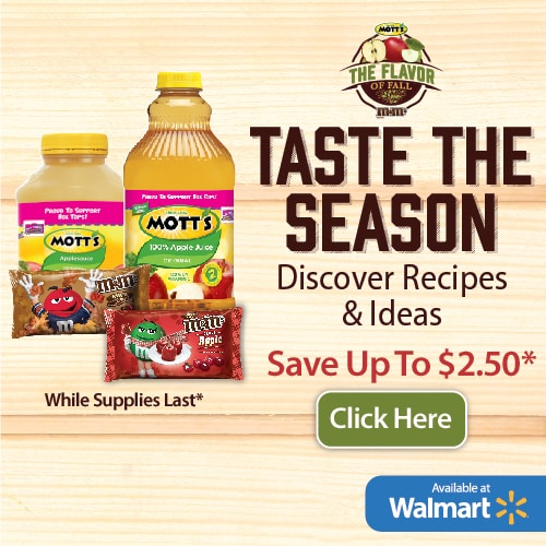 Save Money on Fall Recipes Essentials  - M&Ms and Mott's