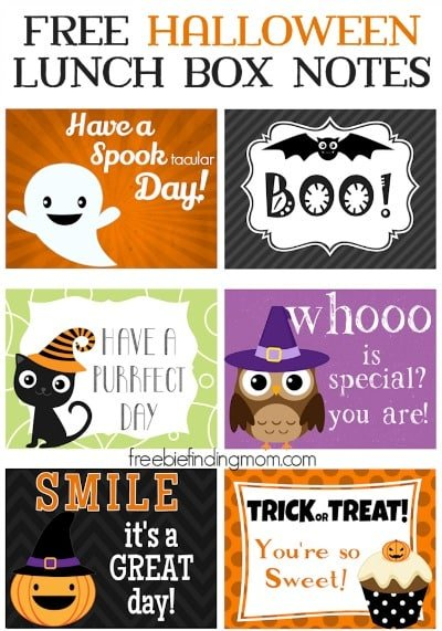 Free Printable Halloween Lunch Box Notes - Surprise the kids (or your spouse) at lunch with a sweet or spooky Halloween lunch box note. Add a personal touch by writing a message on the back.