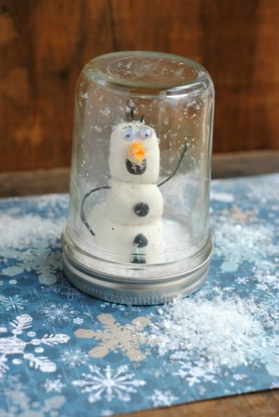 Crafts for Kids: Olaf Mason Jar Snow Globe 8