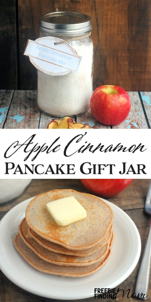 Apple Cinnamon Pancake Mix Gift Jar - Give the gift of a hearty homemade breakfast with this Mason jar recipe. You can easily substitute any dried fruit for the apples or omit the apples entirely and simply make a delicious cinnamon pancake mix. Then attach the free printable gift tag provided and you've got a fun and frugal DIY gift in a jar for friends, family, coworkers, church acquaintances, and the like.
