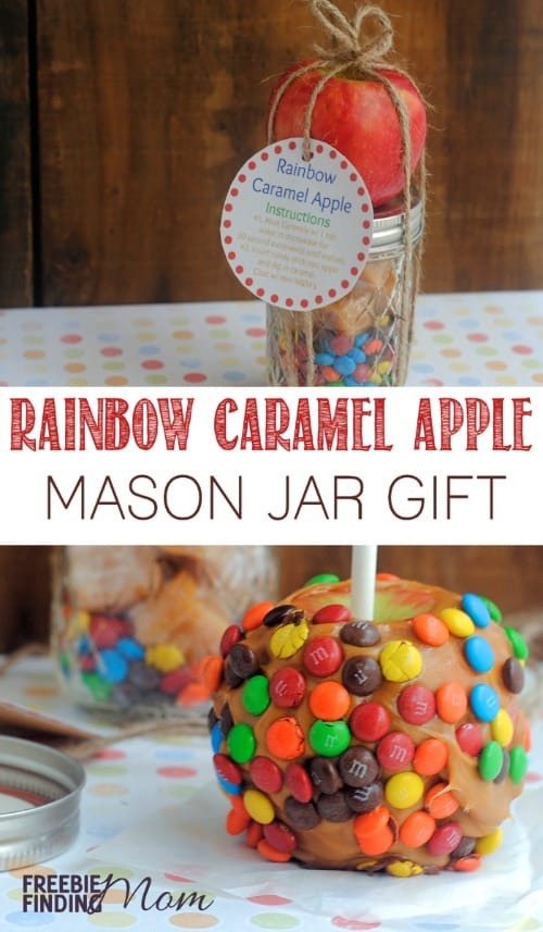 Rainbow Caramel Apple Mason Jar Gift - This DIY gift in a jar Mason jar recipe for caramel apples is a great deviation from the standard Christmas cookies. This sweet treat is perfect for teachers, coworkers, friends, or family members.