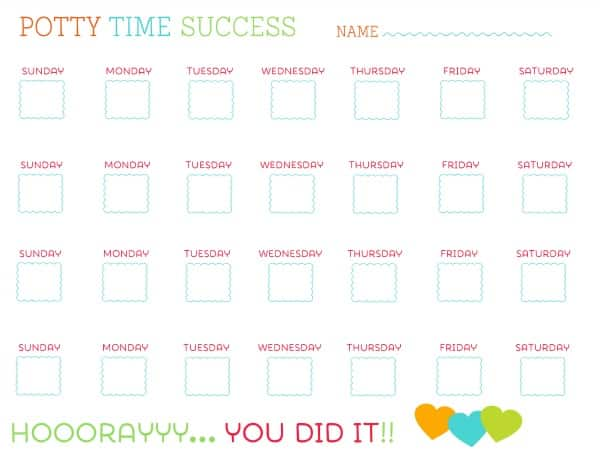 Potty Training: Free Printable Potty Charts