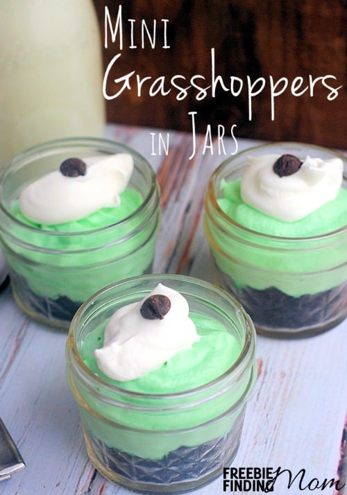 Mini Grasshoppers in Jars - Looking for a homemade dessert recipe that is sure to impress? Whip up a batch of these adorable (and mighty delicious) mini grasshoppers in jars. They are a great way to exercise portion control plus they make yummy DIY gifts in a jar.