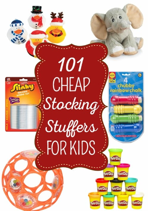 101 Cheap Stocking Stuffers for Kids - Santa can stuff the kids' stockings on the cheap with these fun yet frugal stocking stuffers. You'll find ideas for kids of all ages from 0 to teens and most items are under $10 which makes it easy on Santa's wallet too.