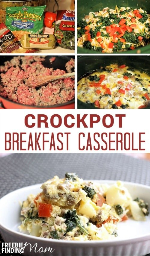 Crockpot Breakfast Casserole Recipe - How would you like to enjoy a hearty delicious breakfast with the family that doesn't take all morning to make? Let your crockpot do the work by whipping up this easy crockpot breakfast casserole. Simply toss in the ingredients then head back to bed till you are awaken by the savory flavors of sausage, peppers, and onion coated with cheesy goodness.