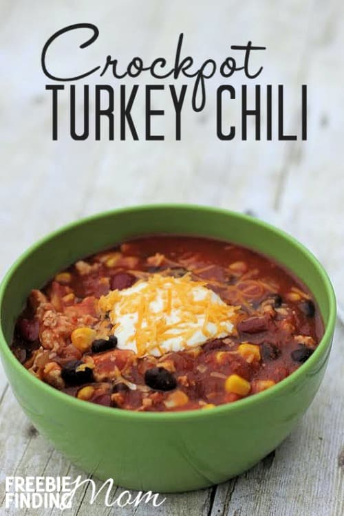 It is also made in a Crock Pot or slow cooker, which makes it so easy to prepare and to serve. Making chili in a slow cooker is great for when you are having company over since it keeps it nice and hot for serving. Plus, you can do all the cooking before the party and then just relax and enjoy once everyone arrives! This turkey chili really is the perfect food for football season and for the big Superbowl game.
