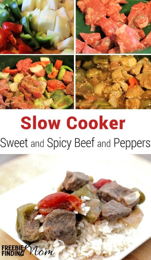 Slow Cooker Sweet and Spicy Beef and Peppers - Here's a delicious way to spice up a weeknight meal. This slow cooker beef stew recipe takes a comforting classic and puts a new twist on it by incorporating brown sugar to add sweetness and red pepper flakes for kick. Give it a try tonight.