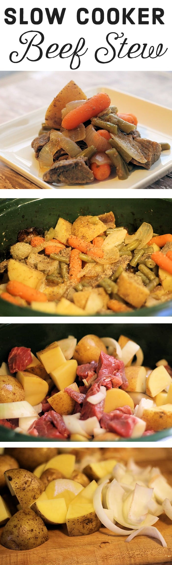 Slow Cooker Beef Stew Recipe - Need a hearty and delicious meal to fill your family's bellies? This slow cooker beef stew recipe is a blend of flavorful stew meat and vegetables. The seasonings seep into the meat and veggies while they cook over 7 to 8 hours leaving you with a rich and filling meal that everyone will love.