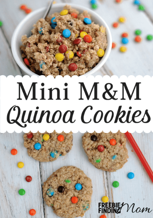 Who said cookies can't be delicious and nutritious? Yep, these Mini M&M Quinoa Cookies are high in protein and fiber but still have bits of chocolaty goodness to satisfy your sweet tooth. These homemade quinoa cookies are a great way to get pickey eaters to consume a hearty helping of protein, vitamins, and minerals.