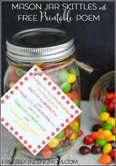 Mason Jar Skittles with Free Printable Poem