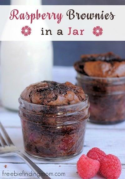 Raspberry Brownies in a Jar