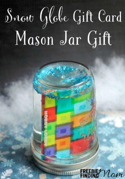 Snow Globe Gift Card Mason Jar Gift