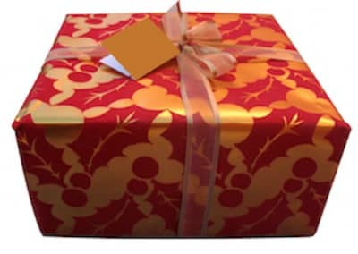 wrapped present to promote frugal birthday party ideas