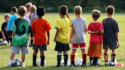 Kids playing soccer to promote frugal birthday party ideas