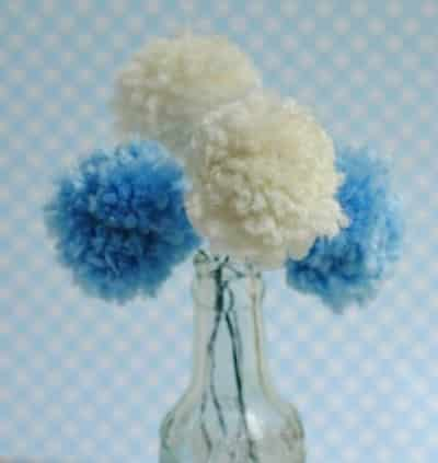 pom pom centerpiece to promote frugal birthday party ideas