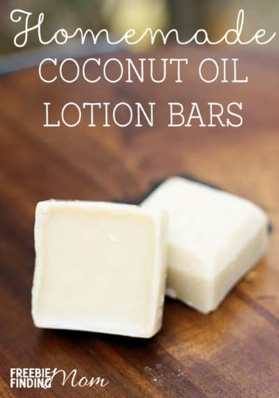 Homemade coconut oil lotion bars to promote making homemade beauty products