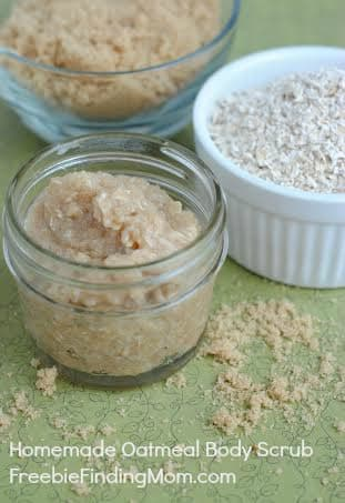 Homemade oatmeal body scrub to promote making homemade beauty products
