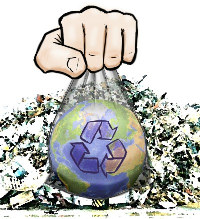 hand with recycling image to promote ways to earn cash