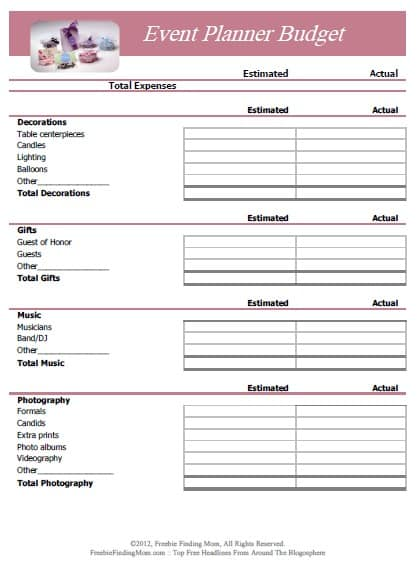 Printable Event Planner Budget Worksheet
