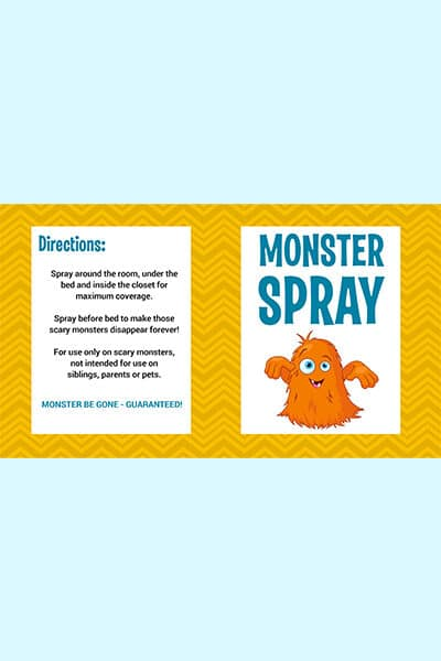 free printable monster spray label