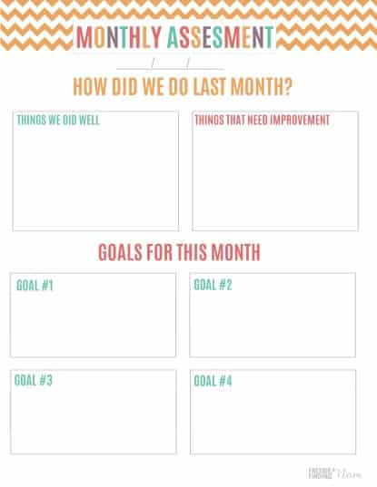 Printable Budget Binder Monthly Assessment Sheet