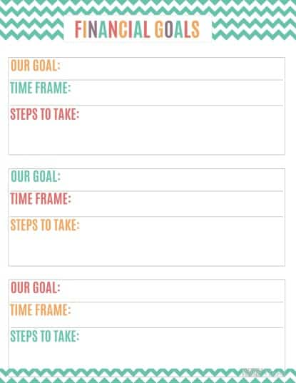 Printable Budget Binder Financial Goals Sheet
