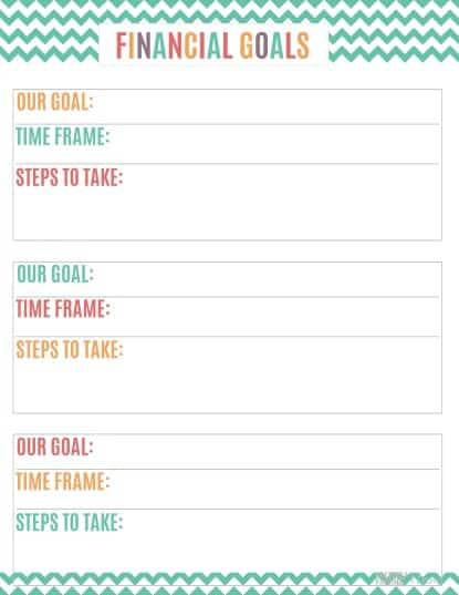Printable Budget Binder Financial Goals Sheet
