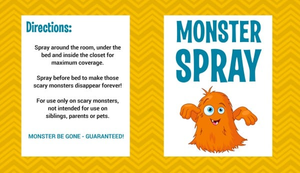 Free Printable Monster Spray Label 2
