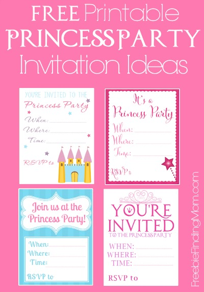 Free Printable Princess Party Invitation Ideas - If you are throwing a princess party on a budget, download these adorable princess party invitations. The money you save by using these free printables can be spent on the glitz and glamour of the party or to buy a fabulous princess dress!