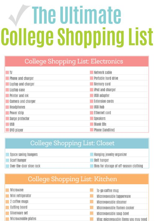 Dorm Room List For College
