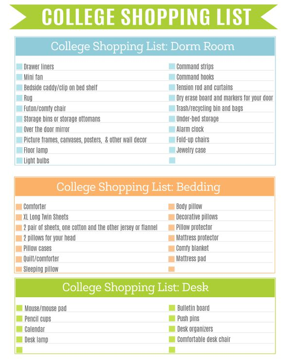 College Shopping List Printable 1