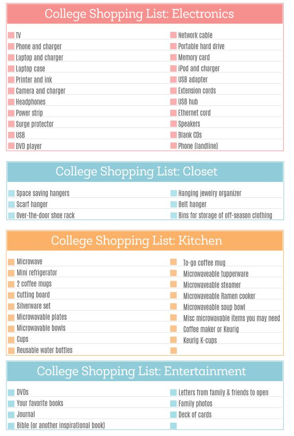 College Shopping List Printable 2