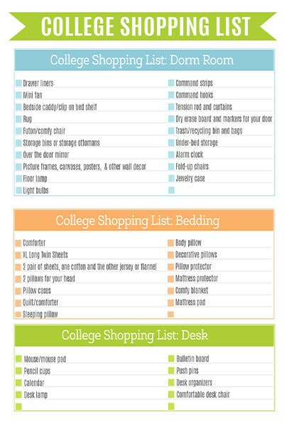 college shopping list printable