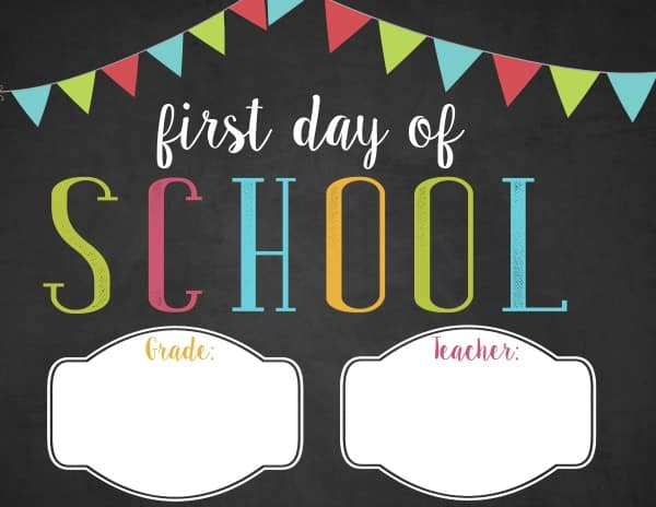 picture relating to First Day of School Sign Printable identified as Absolutely free customizable 1st working day of university printable
