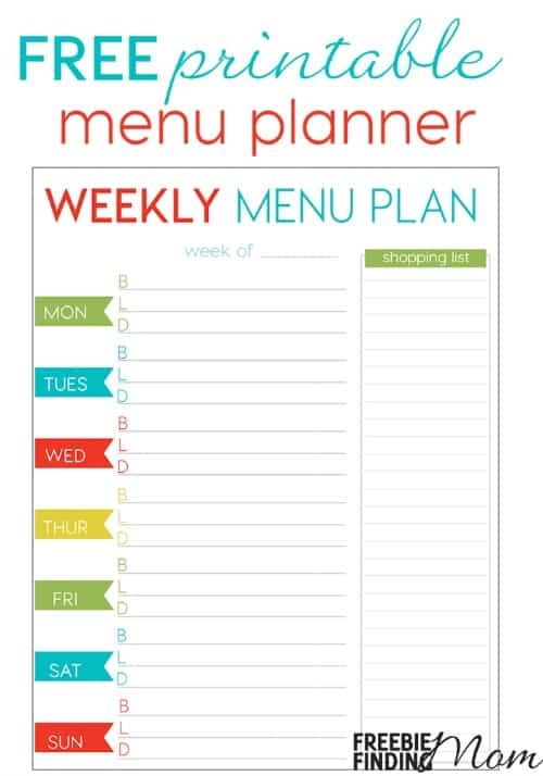 Freebie Finding Mom  Menu Planner Template Free