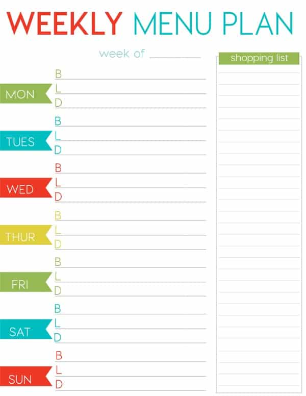 Free weekly menu planner printable for Monthly dinner menu template