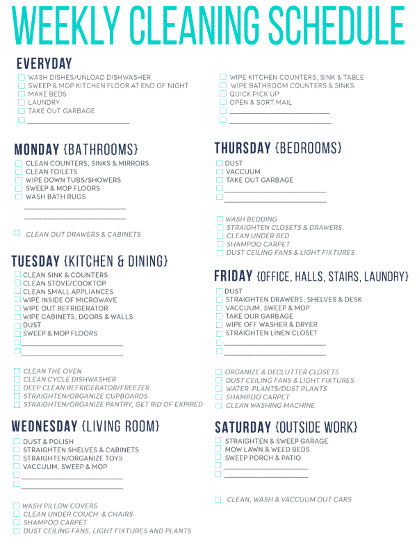 Download Free Printable Cleaning Schedule