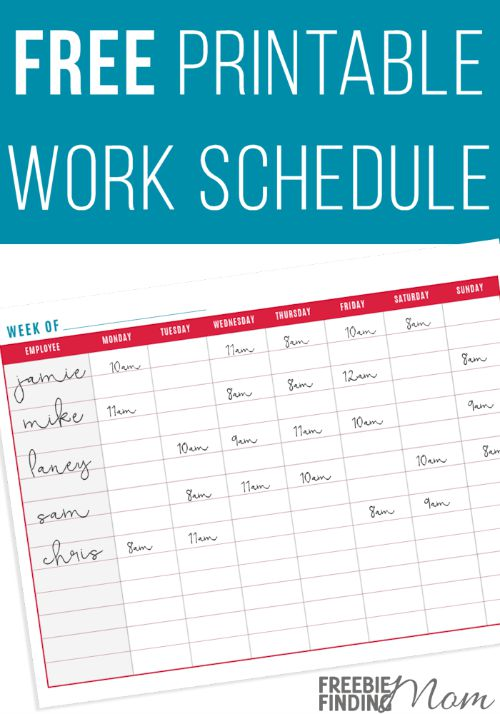 free printable work schedule