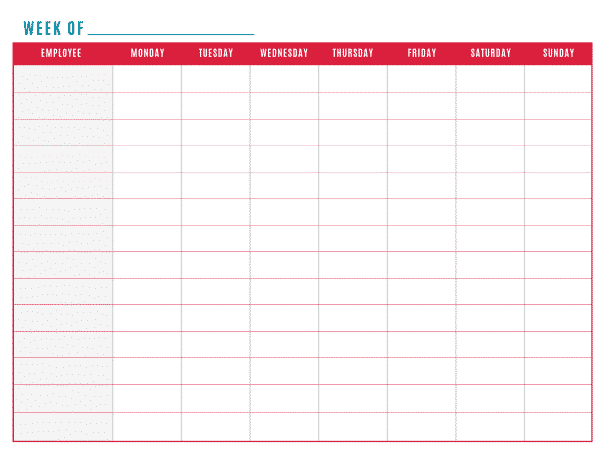 Free printable work schedule for Monday through saturday calendar template