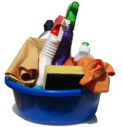 Cleaning supplies to promote free printable cleaning schedule