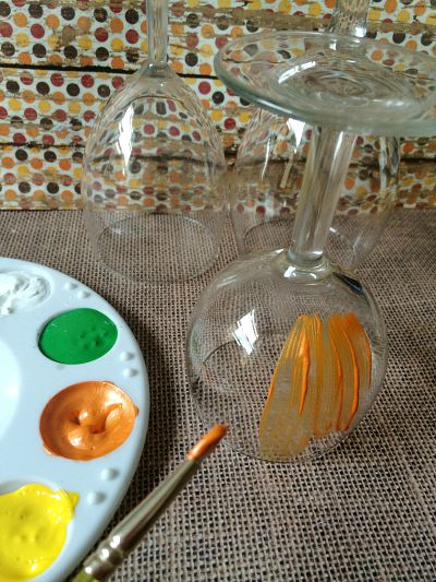 DIY Pumpkin Wine Glass Centerpieces Step 2