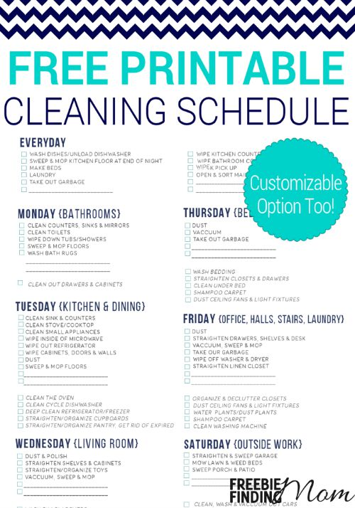 This free printable cleaning schedule lists all the essential household cleaning chores and breaks them up over a course of 6 days, making it more manageable to work them into your busy schedule. You can also download a free customizable version, so you can tailor it to fit your needs.