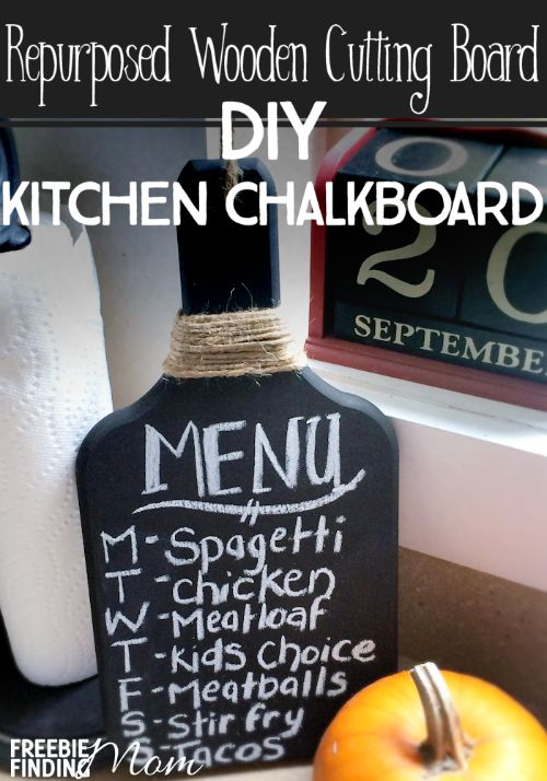 Want to get more organized in the kitchen? Without much time, effort, or money, you can repurpose a wooden cutting board into a DIY kitchen chalkboard. A DIY kitchen chalkboard can serve a myriad of purposes like to jot down the week's dinner menu, shopping list, notes for the family, and more.