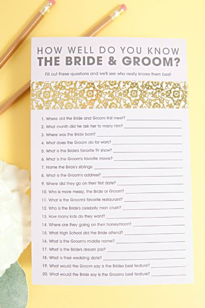 10 FREE Printable Bridal Shower Games