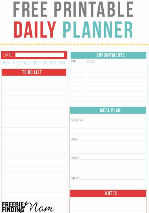 Free printable daily planner for To do planner online